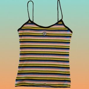 TOPSHOP Rainbow Stripe Embroidered Tank Top